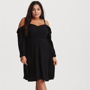 Torrid Black Cold Shoulder Stretch Challis Dress